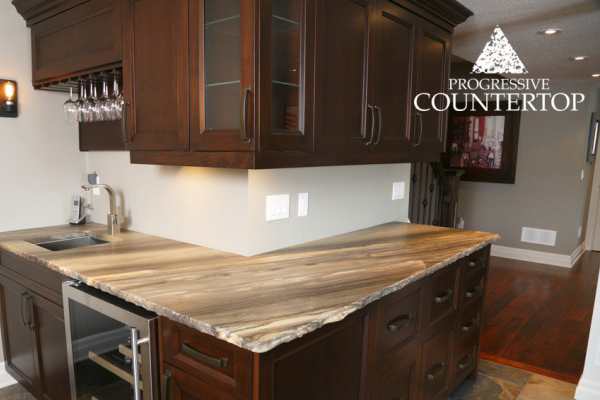 Sequoia Brown Leather Granite bar with a chiseled edge – Progressive Countertop, London Ontario