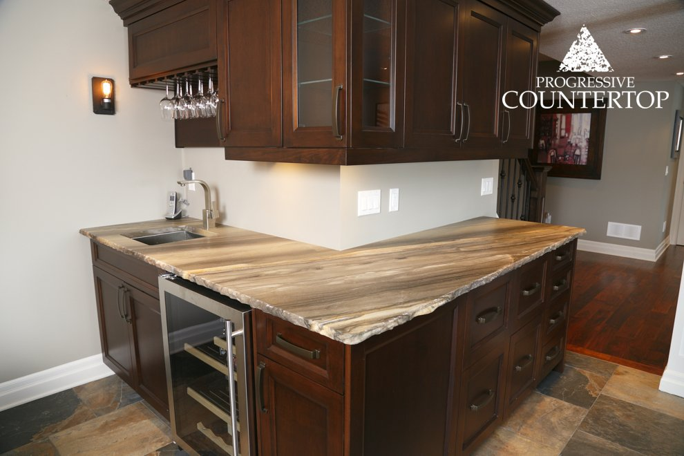 Sequoia Brown Leather Granite Bar With A Chiseled Edge Progressive Countertop London Ontario