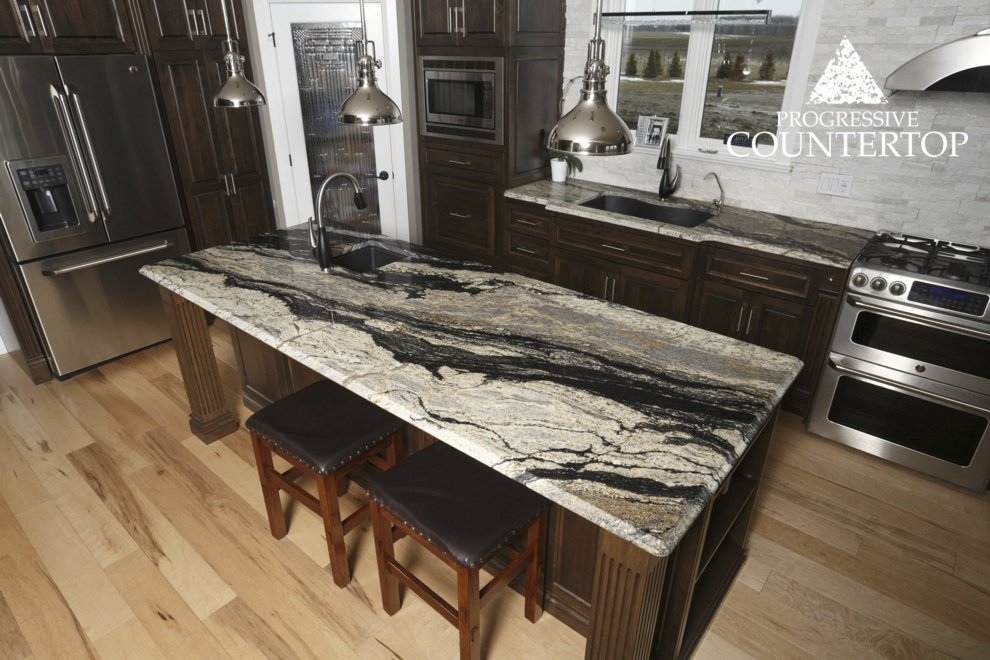 Silver kitchen island Supreme white granite pictures