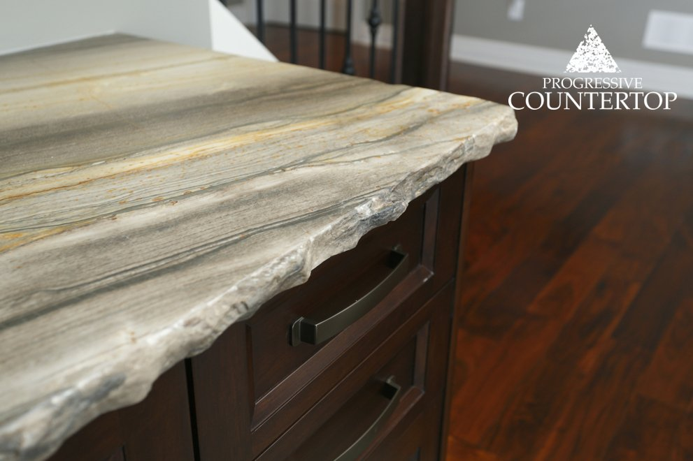 Sequoia Brown Leather Granite With Chiseled Edge From Progressive Countertop