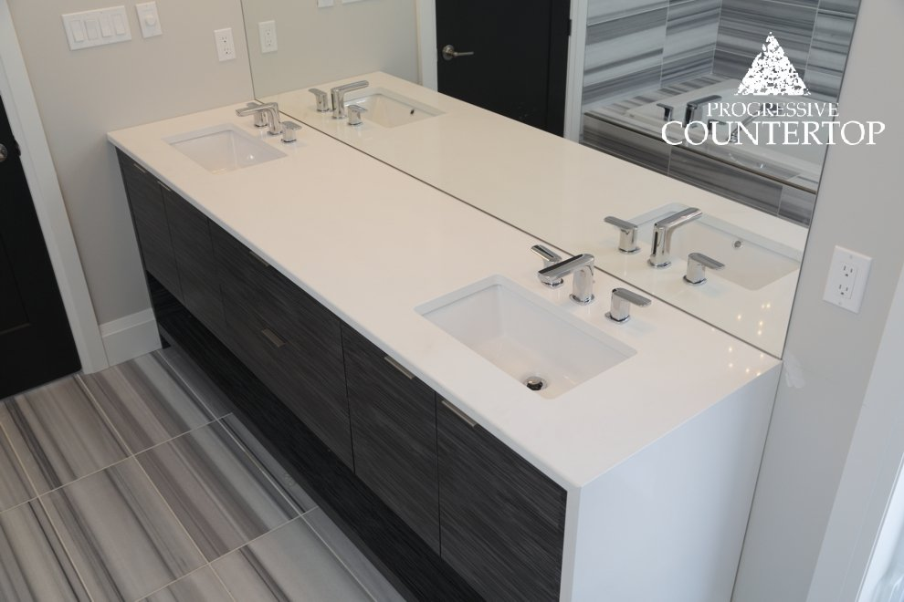 Beautiful White Bathroom Vanity With Double Sink And Waterfall Leg