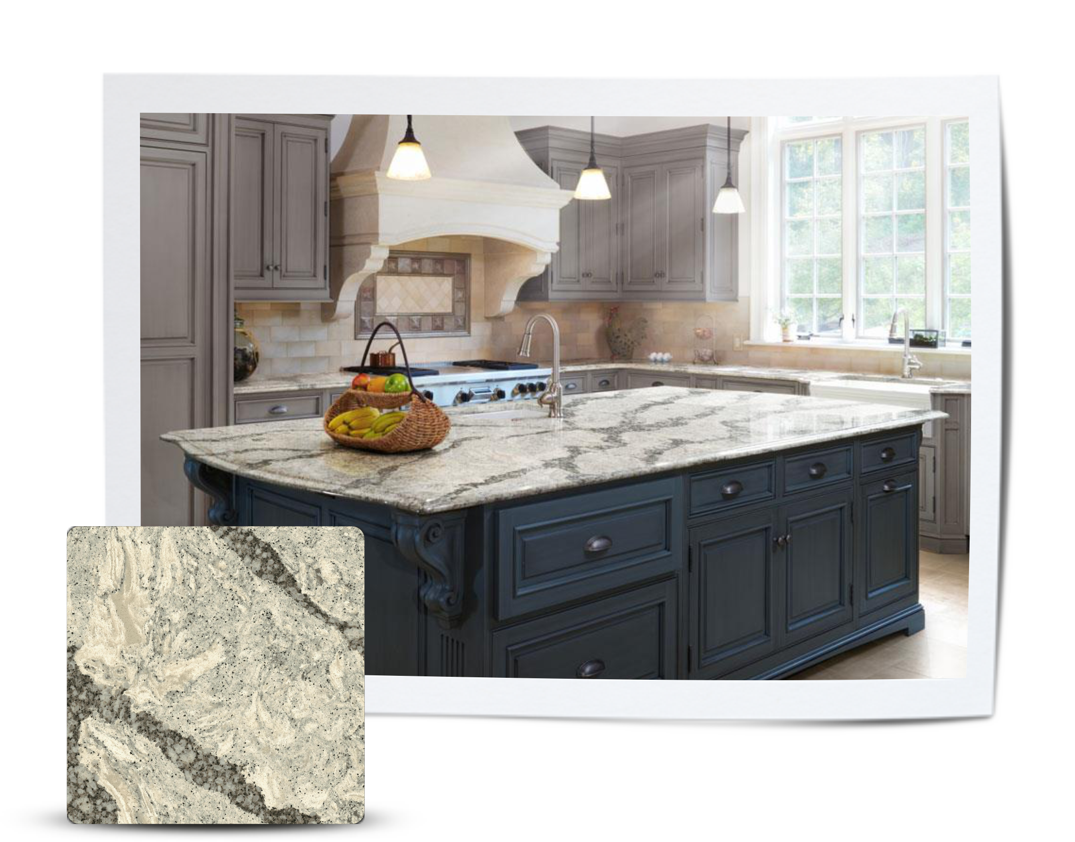 A classic kitchen with rich contrasting cabinets featuring Seagrove by Cambria counter tops