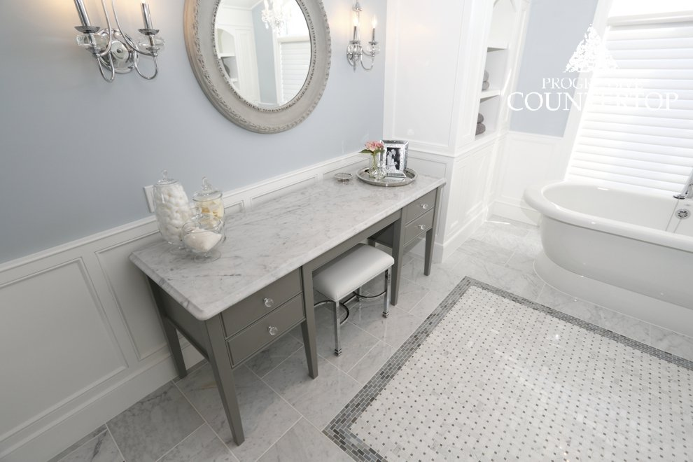 Progressive countertop bathroom powder room featuring a for Bathroom decor london ontario