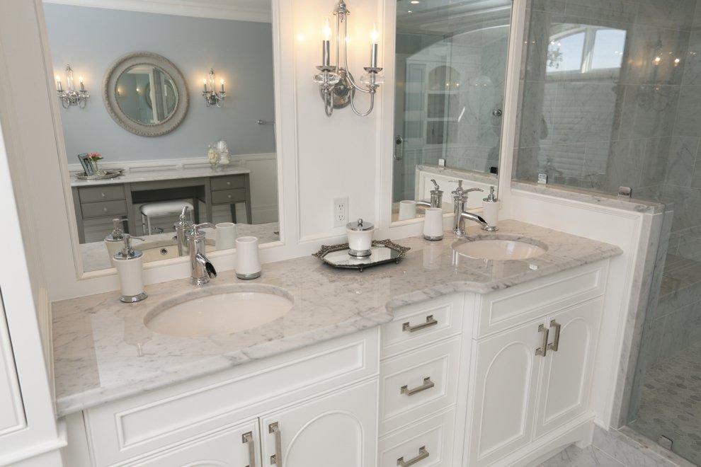 Bathroom Sinks London Ontario bathroom vanity with bianco carrera marble surface - progressive