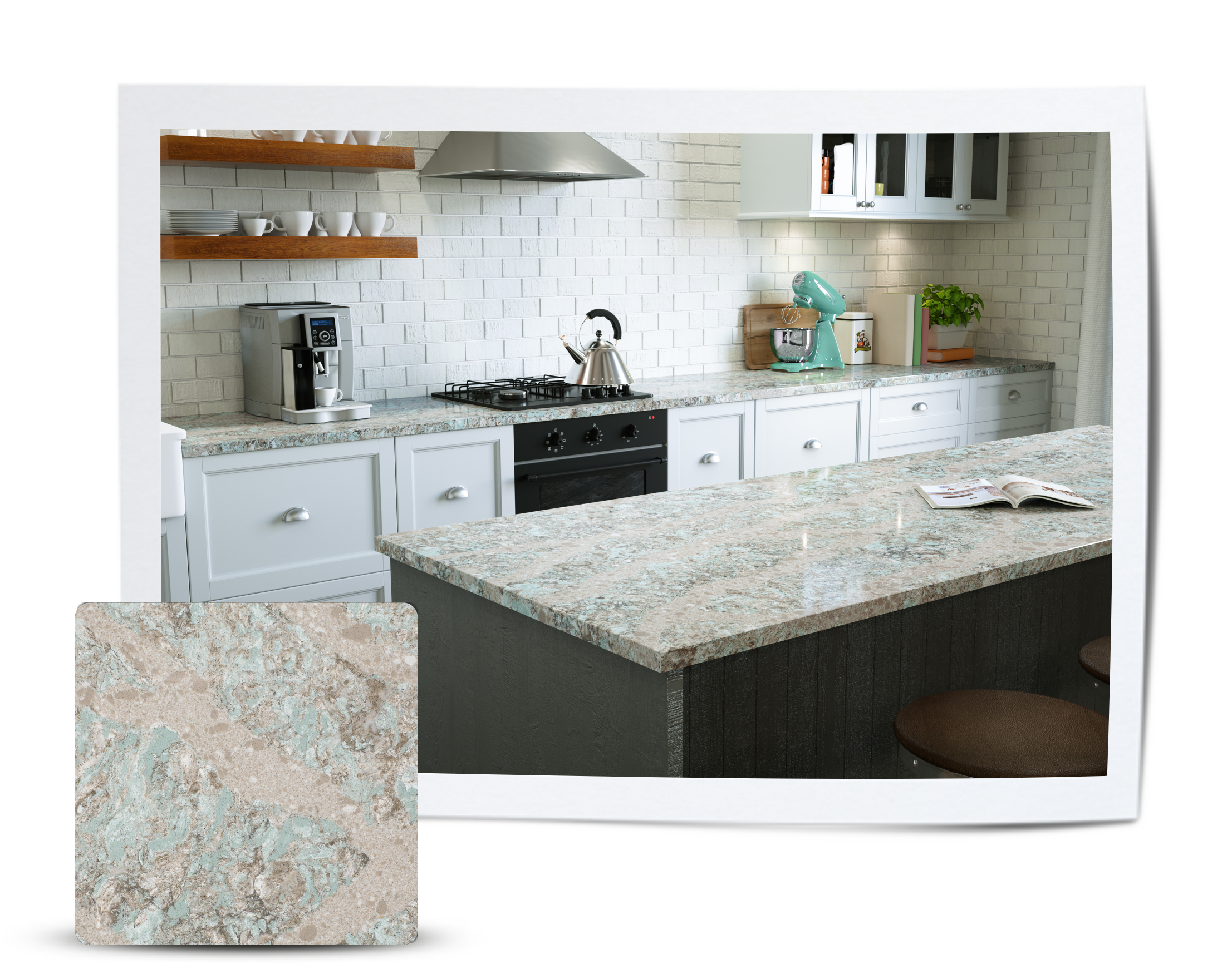 White kitchen cabinets with cambria countertops kelvin for Cambrian kitchen cabinets