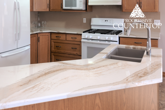 Cambria® Brittanicca Gold™ Quartz Kitchen Countertop Island and Counters