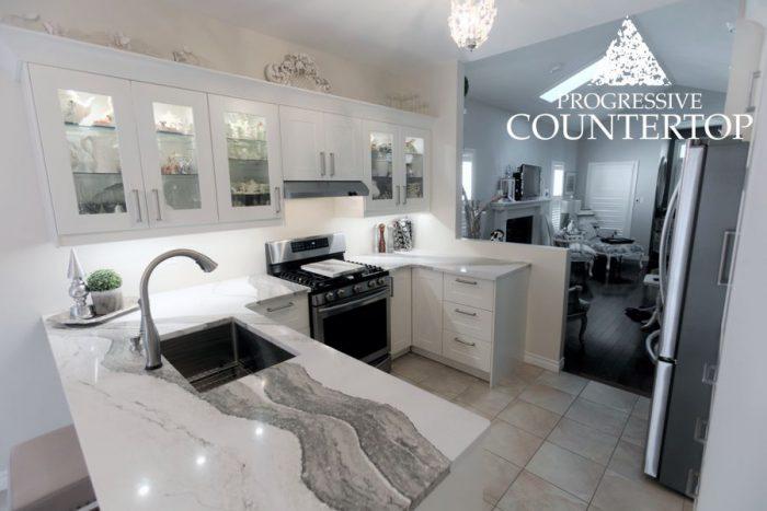 Cambria®Skara Brae™ L Shape Kitchen Quartz Countertop White and Grey