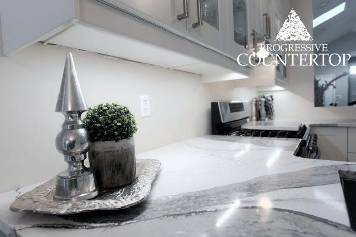 Cambria® Skara Brae™ L Shape Kitchen Quartz Countertop White and Grey Close Up