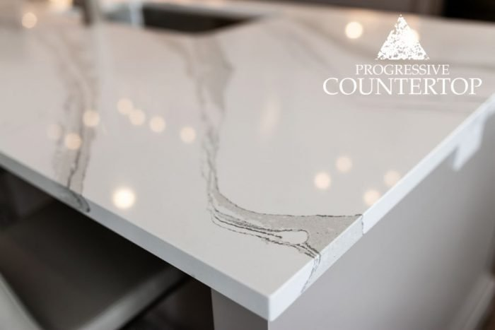 Cambria® Brittanicca Quartz Countertop White and Grey at The Ridge at Byron Model Home (London, Ontario)