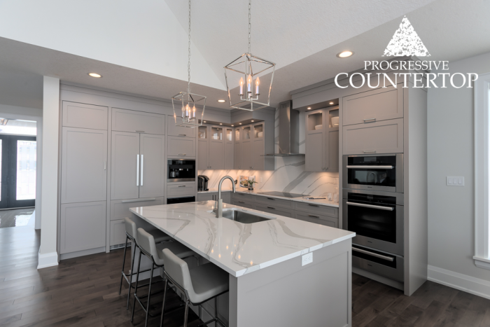 Cambria® Brittanicca™ Quartz Countertop in The Ridge at Byron Model Home Kitchen (London, Ontario)