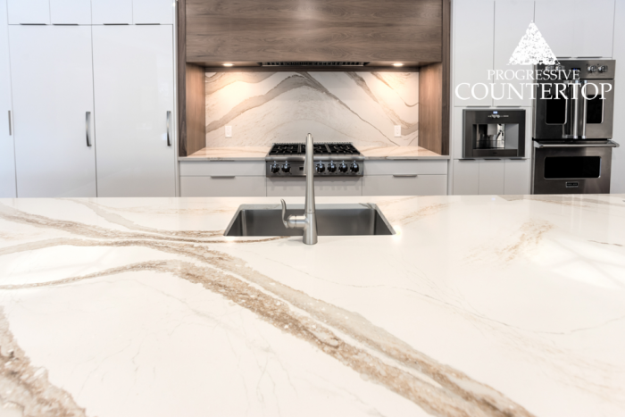 Cambria® Brittanicca Gold Quartz Countertop Close Up Detail