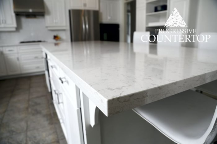 Cambria Torquay quartz countertop kitchen island