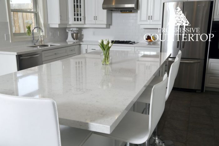 Cambria Torquay quartz countertop kitchen and island