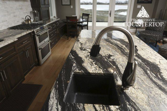 Silver Supreme Granite Kitchen Countertop Silver and Grey