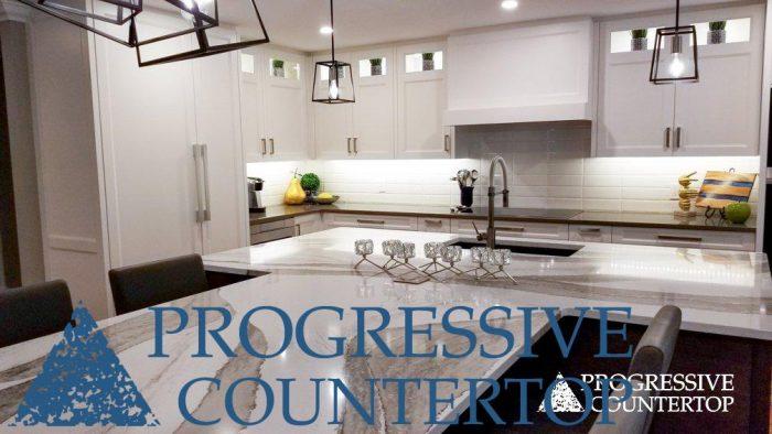 Custom Kitchen Countertops - Cambria Quartz Skara Brae and Devon installed by Progressive Countertop