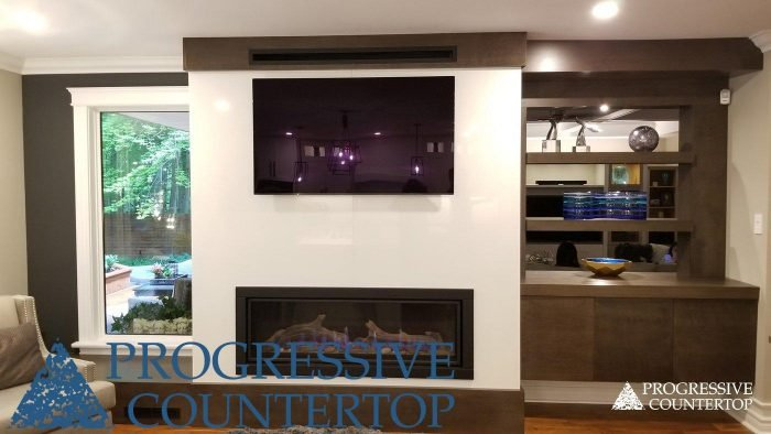 Gigantec Porcelain fireplace and feature wall from Progressive Countertop.