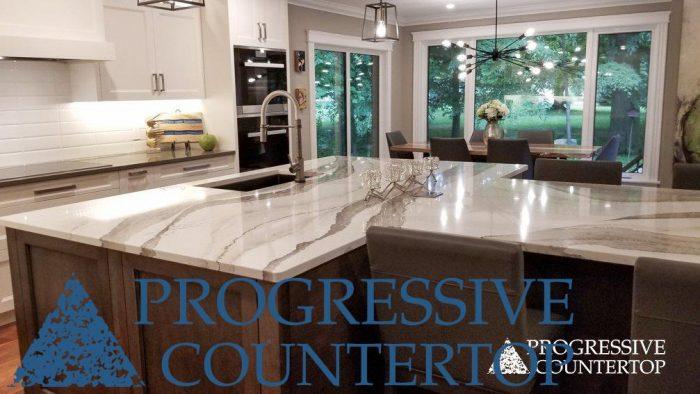 Cambria Quartz Kitchen Countertops from Progressive Countertop - Skara Brae by Cambria Kitchen Island and Devon by Cambria quartz surfaces