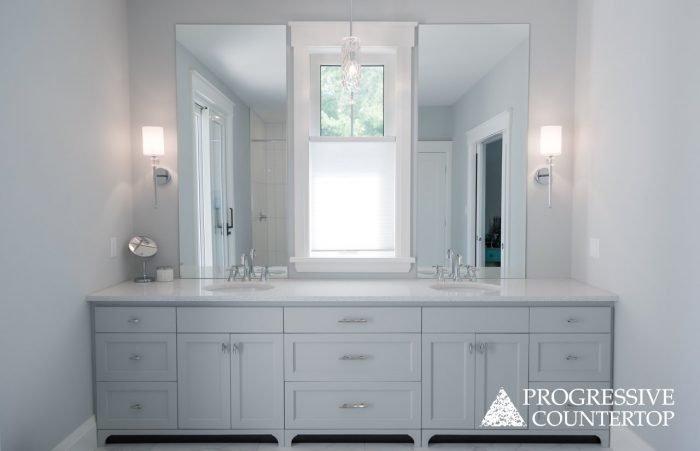 Cambria Quartz Bathroom Countertops - Polished Whitney countertops
